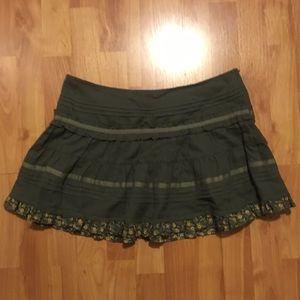 Khaki Olive Green Frilly Miniskirt